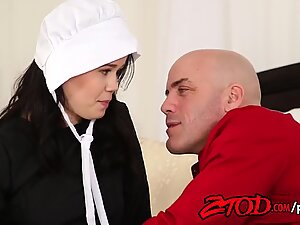 Peasant woman with small tits and a hairy pussy boldly surrendered herself to a neighbor.