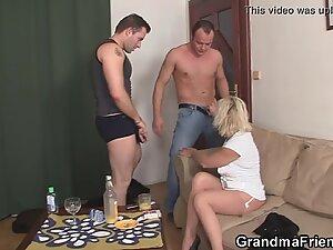 Threesome fucking with hot grandma