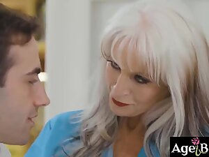 Mature blonde MILF fucks her patient
