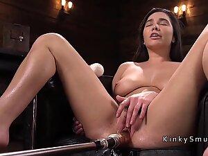 Big tits and ass babe fucking machine