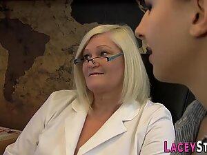 Stockinged granny licks pussy