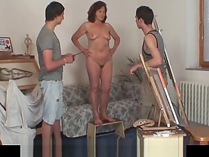 Granny gives head and rides two cocks