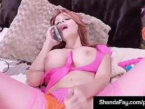 Mature mummy Shanda Fay buttplugs Her Ass & Pussy In Phone sex!