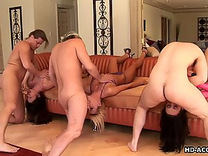 Triple blowing action with naughty babes deep throating