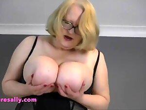 Massive tits and belly Granny poured into a tight corset