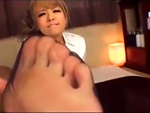 cute asian nylon feet